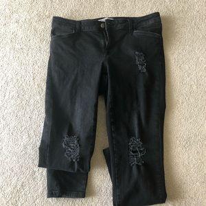 Zara stretchy distressed black jeans